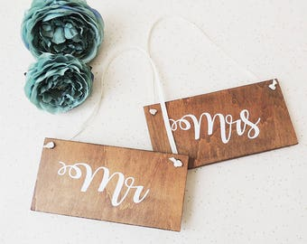 Mr and Mrs signs, rustic wedding signs, chair signs, hanging wedding signs, table decor, Mr and Mr, Mrs and Mrs, wooden signs,