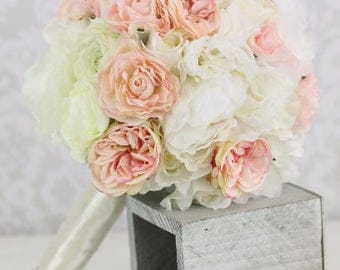 Silk Bride Bouquet Peony Flowers Pink Cream Spring Mix Shabby Chic Wedding Decor (1007)