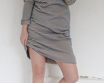 Vintage Navy Striped Turtleneck Dress