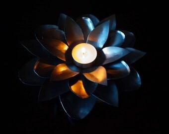 Tealight candle holder. Metal candle holder. Candlestick. Metal sculpture. Original gift.