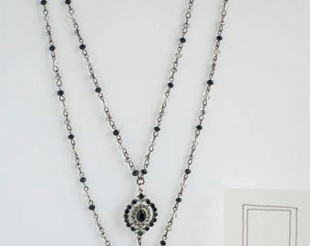 Black Silver Long Pendant Necklace