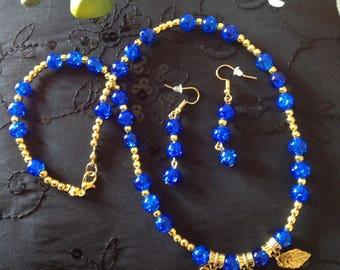 Blue jewellery set Beaded necklace charm necklace handmade beaded necklace blue necklace earrings blue earrings leaf necklace