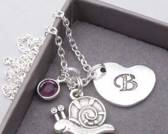 Snail heart initial necklace   snail pendant   personalised snail necklace   snail jewelry   snail gift