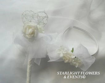 Flower girl Wand and Hairband set White or Ivory
