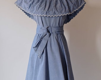 1940s Dusty Blue Chambray Dress With Attached Capelet / Morton Bregman / Studs and Rhinestones