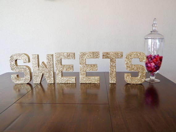 sweets stand up letters double sided glitter letters