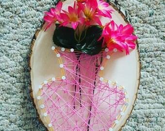 Pink and orange flower vase string art