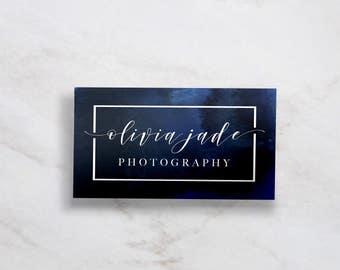 Modern Business Card // Indigo Business Card // Navy Business Card // Watercolor Business Card // Minimal Business Card // 20% OFF