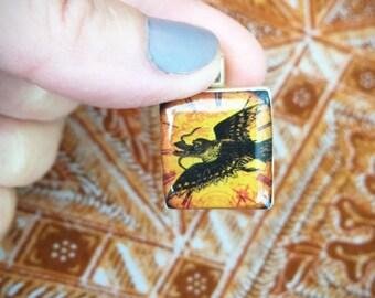 Phoenix Pendant/ Scrabble Tile Pendant/ Handmade OOAK Pendant/ Chimera Mystical Creature Necklace