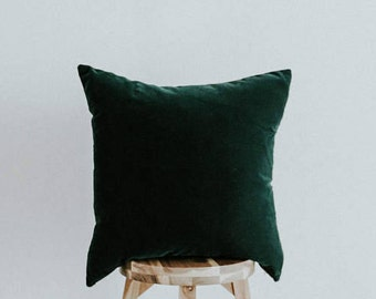 """Velvet Throw Pillow Cover Forest Green 20 inch Square Eclectic Collection """"Evergreen"""""""