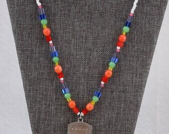 Rainbow Beaded Plinko Necklace
