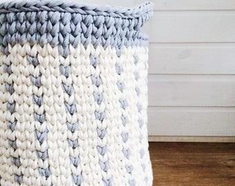 Large crocheted basket / beige basket / Crochet basket / Large basket/Nursery storage basket / Basket / Storing basket / Scandinavian basket