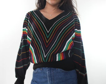 70's rainbow chevron knit sweater / S M