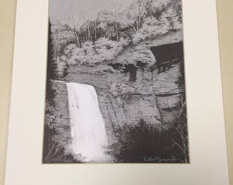 "Matted Print ""Looking Glass Falls"""