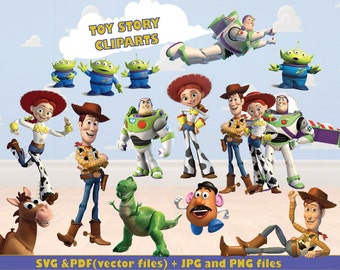 12 Toy Story Cliparts, Buzz Cliparts, Pixar Cliparts, Kids Cliparts, Sheriff Woody Cliparts, ToyStory SVG, HD, 300 ppi, Vector File
