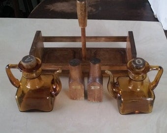 Vintage Oil and Vinegar bottles with solid wood corks tray salt and pepper salad dressing