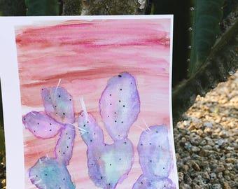 Cactus watercolor painting print