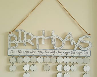 Hand-painted hanging Birthday reminder plaque grey/silver
