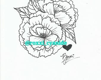 Color Your Own Peony Tattoo Sketch Line Work