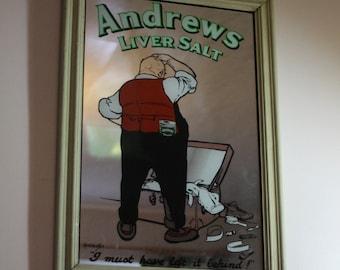 "Framed Retro ""Andrews Liver Salts"" Advertising Art Picture Mirror."