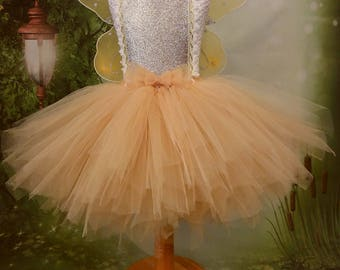 Gold tutu dress, fairy tutu,  Princess dress, girls party dress, woodland fairy, flowergirl dress, Ballerina dress