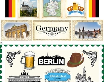 Travel Stickers - Germany Sightseeing Icons & Images - Munich - Berlin - Frankfurt - Bavaria - 31 Color Assorted - Die Cut and Cut out