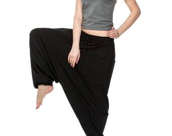 Black cotton women pants for yoga, Festival comfortable hippie boho gypsy bohemian sweatpants loose pants, Size women small medium 4214-WW