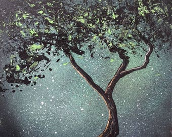 Emerald tree painting canvas spray paint hand painted
