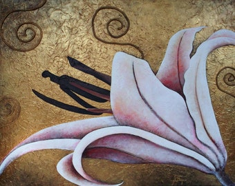 White lily, mixed technique collage, flowers, acrylic painting, art