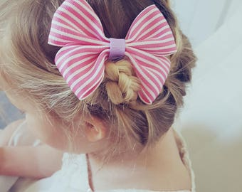 Pink Stripe Ribbon Hair Bow on a French Barrette Clip
