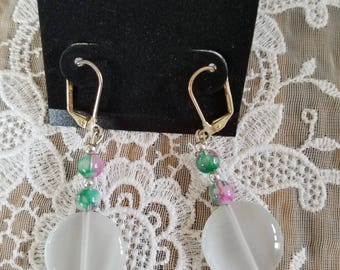 White, Pink, & Green Earrings