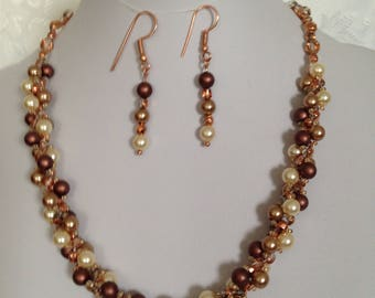 Pearl and crystal spiral necklace set