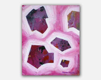 Original abstract pink painting in mixed media. Pretty Pink - Small painting