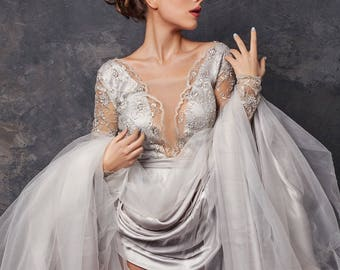 Wedding dress , unique wedding gown, Gray dress, romantic wedding dress, bridal gowns
