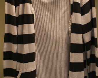 STRIPED Black/White Jacket L (Large)