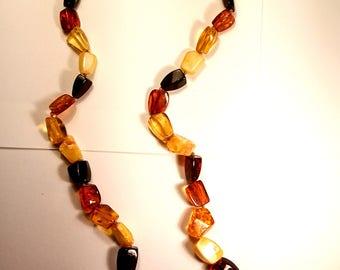 "Natural Baltic Amber Necklace ""Quadratic""  Antique"