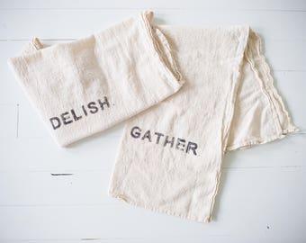organic flour sack dish towel set: DELISH + GATHER