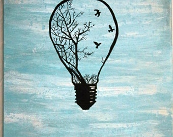 Birds in a Light Bulb Canvas Painting