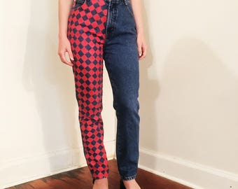 Hand painted checker-board jeans! High waisted vintage fit!