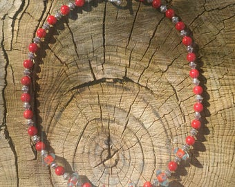 Viking beaded necklace with lampwork beads