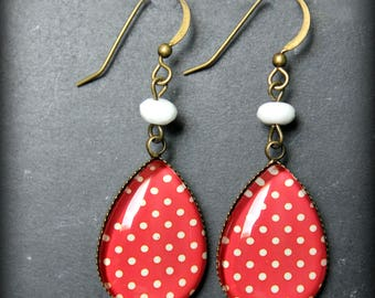"Earrings ""Alizé"" red with white polka dots"