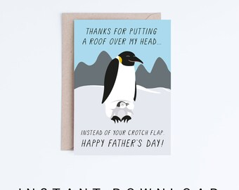 Funny Fathers Day Cards Printable, Penguin Father's Day Digital Download Cards, Penguins, For Dad, Cards For Him, Gifts for Him, Gross Cards