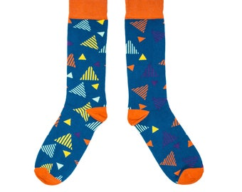 Colourful Triangle Socks with a Geometric pattern.