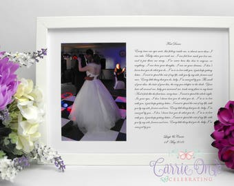 Wedding Poem PRINT UNFRAMED First Dance Lyrics PERSONALISED First Dance Lyric Print Different Styles Available
