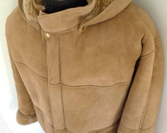 Superb! FRENCH CREEK Long Genuine SHEEPSKIN Shearling Coat with Hood Overcoat Lg