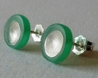 Resin and Sterling Silver Circle Concave Studs - Satin finish