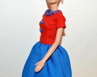 Barbie doll dress # Barbie vintage red dress # Barbie clothes handmade # Barbie doll clothes.