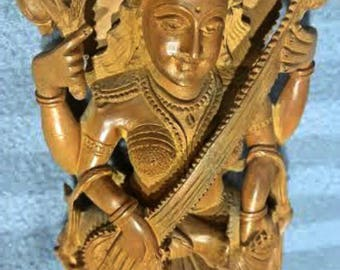 Vintage Sandalwood Carving Goddess Saraswati Made in India