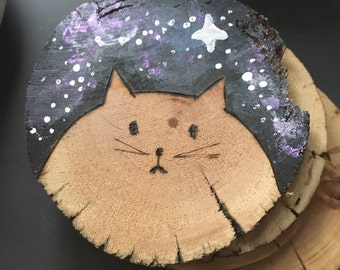 Set of 4 - Wooden Galaxy Cat Coasters