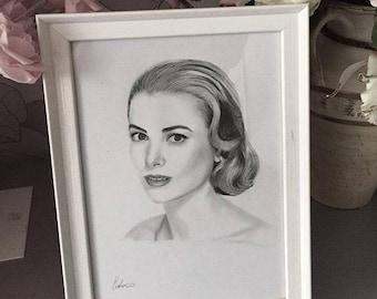 Grace Kelly, Original framed pencil portrait